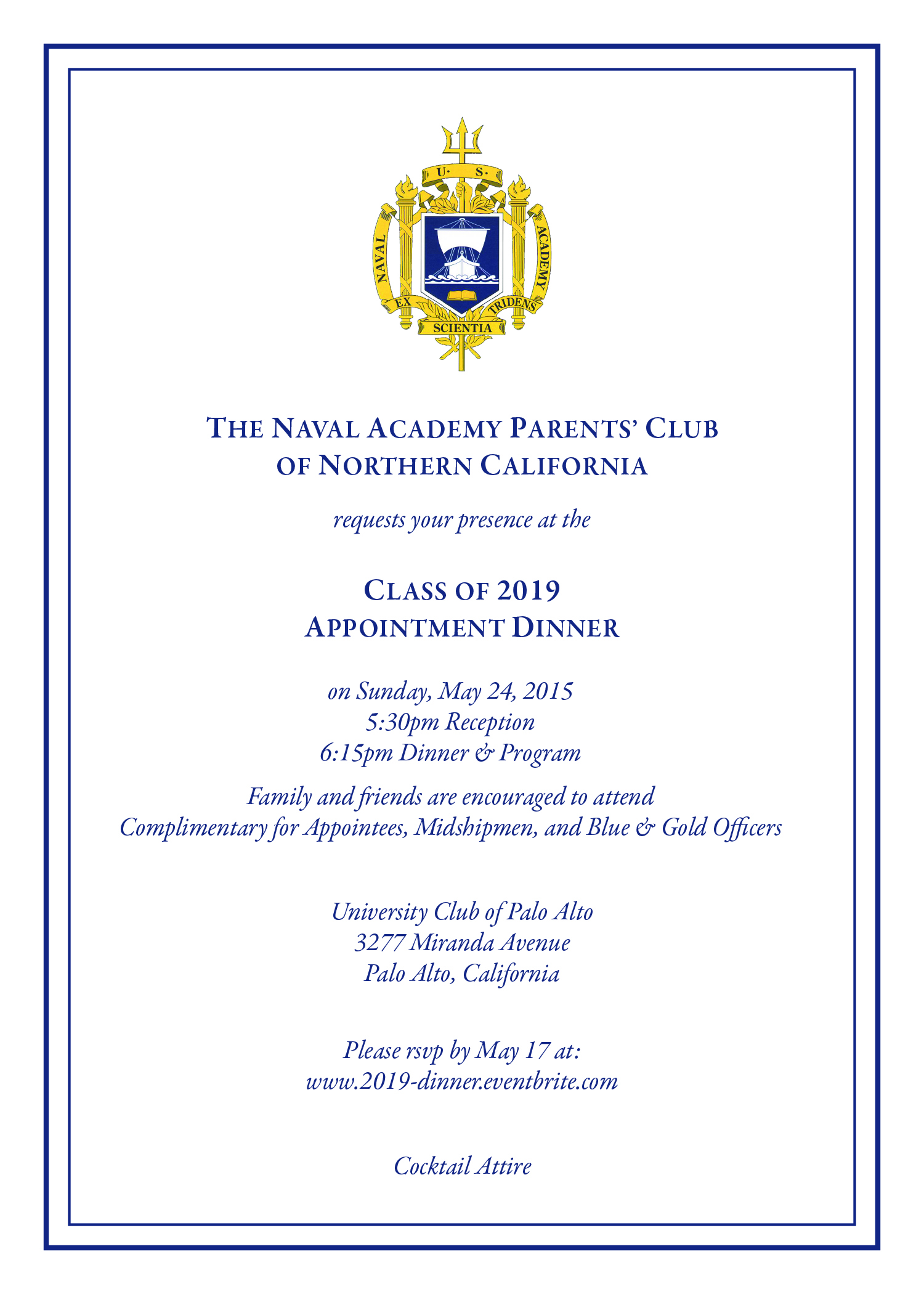 Appointment dinner us naval academy parents club of northern sample appointment dinner invitation link stopboris Images